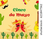 poster for cinco de mayo with... | Shutterstock .eps vector #621847562