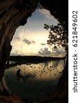 climbing multi pitch  at tonsai ... | Shutterstock . vector #621849602