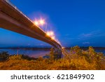 cloud and sky with long bridge. | Shutterstock . vector #621849902