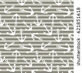 seamless pattern with anchor ... | Shutterstock . vector #621851618