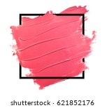 Small photo of Abstract painted textured red brush with frame background