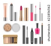 set of cosmetics  lady makeup... | Shutterstock .eps vector #621856562