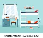 Stock vector vector interior of a bedroom two tier bunk bed workplace 621861122