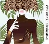 woman under an umbrella... | Shutterstock . vector #621867665