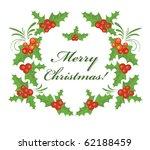 christmas holly wreath | Shutterstock .eps vector #62188459