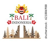 bali  indonesia travel and... | Shutterstock .eps vector #621886988