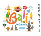 bali  indonesia travel and... | Shutterstock .eps vector #621887012