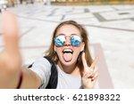 cute hippie girl in the setting ... | Shutterstock . vector #621898322