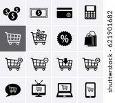 shopping icon set. cart symbol  ... | Shutterstock .eps vector #621901682