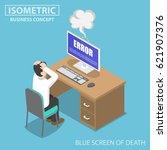 flat 3d isometric businessman... | Shutterstock .eps vector #621907376