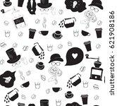 seamless coffee pattern on...   Shutterstock .eps vector #621908186