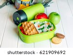 lunch box filled with rice and... | Shutterstock . vector #621909692