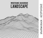 wireframe landscape background. ... | Shutterstock .eps vector #621914162