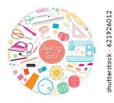 sewing kit icons set on circle...