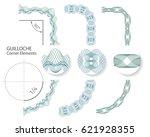 set  seamless guilloche corner... | Shutterstock .eps vector #621928355