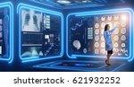 woman doctor in futuristic... | Shutterstock . vector #621932252