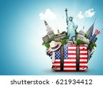 usa  vintage suitcase with... | Shutterstock . vector #621934412