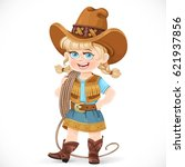 cute girl in a cowboy suit is... | Shutterstock .eps vector #621937856