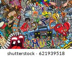 music collage on a large brick... | Shutterstock .eps vector #621939518