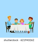 family meal. father mother  son ... | Shutterstock .eps vector #621943262