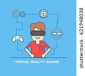 virtual gaming concept linear...   Shutterstock .eps vector #621948038