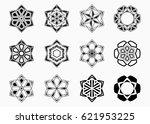 set of abstract symmetric... | Shutterstock .eps vector #621953225