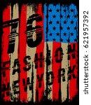 american broken flag   vintage... | Shutterstock .eps vector #621957392