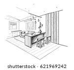 interior sketch of modern... | Shutterstock .eps vector #621969242
