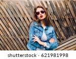 kissing girl wearing heart... | Shutterstock . vector #621981998