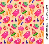 ice cream fruit berry bakery... | Shutterstock . vector #621982595