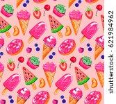 ice cream fruit berry bakery... | Shutterstock . vector #621984962