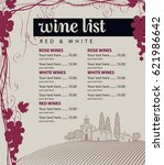 vector wine list with grape... | Shutterstock .eps vector #621986642