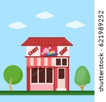 colorful candy shop front view... | Shutterstock .eps vector #621989252