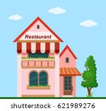 colorful  restaurant front view ... | Shutterstock .eps vector #621989276