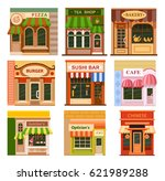flat style cafe restaurant shop ...   Shutterstock .eps vector #621989288