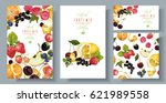 vector fruit and berry banners... | Shutterstock .eps vector #621989558
