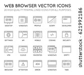 set of 48x48 minimal browser ... | Shutterstock .eps vector #621992186