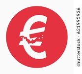 crashed euro sign  financial... | Shutterstock .eps vector #621995936