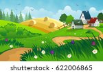 Countryside Landscape With Hay  ...