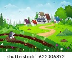 country village landscape with