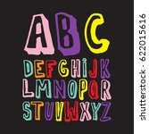 colorful hand drawn alphabet... | Shutterstock .eps vector #622015616