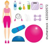 women in sportswear kit. female ... | Shutterstock .eps vector #622020572