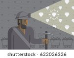 caucasian miner at work  ... | Shutterstock .eps vector #622026326