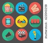 set of flat cinema icon. vector ... | Shutterstock .eps vector #622043258