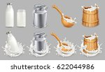 milk can and splash. natural... | Shutterstock .eps vector #622044986