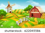 Farm Field Landscape 3d Vector...