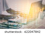 double exposure businessman and ... | Shutterstock . vector #622047842