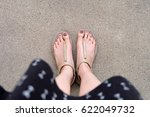 selfie feet wearing gold... | Shutterstock . vector #622049732
