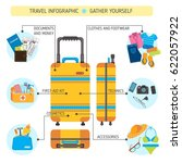 big suitcase set  travel... | Shutterstock .eps vector #622057922