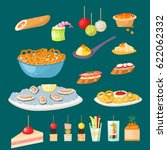 various meat canape snacks... | Shutterstock .eps vector #622062332